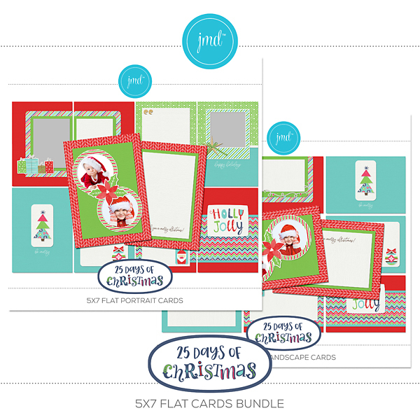 25 Days Of Christmas 5x7 Flat Cards Bundle Digital Art - Digital Scrapbooking Kits