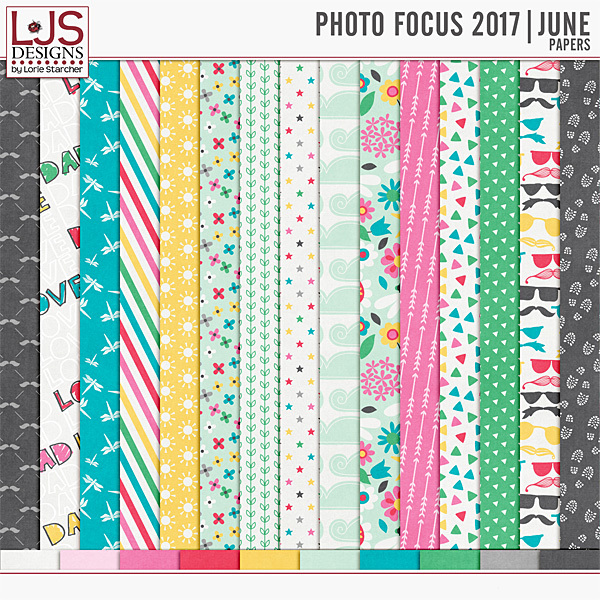 Photo Focus 2017 - June Papers Digital Art - Digital Scrapbooking Kits