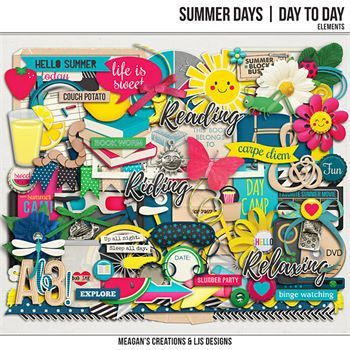 Summer Days - Day To Day Elements Digital Art - Digital Scrapbooking Kits