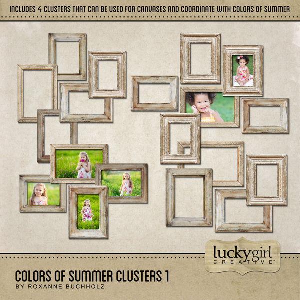 Colors Of Summer Clusters 1 Digital Art - Digital Scrapbooking Kits
