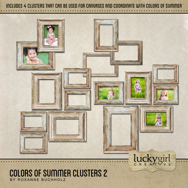 Colors Of Summer Clusters 2 Digital Art - Digital Scrapbooking Kits