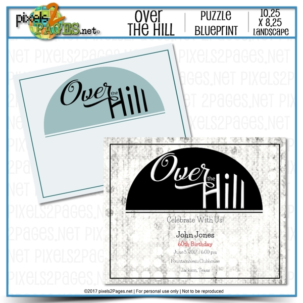 Over The Hill Puzzle Blueprint Digital Art - Digital Scrapbooking Kits