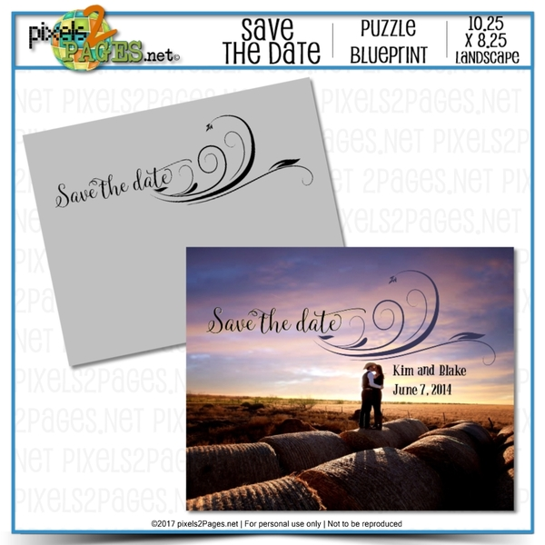 Save The Date Puzzle Blueprint Digital Art - Digital Scrapbooking Kits
