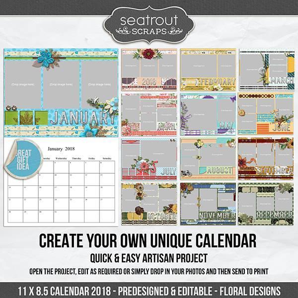 11 X 8.5 Calendar 2018 - Predesigned And Editable - Floral Designs Digital Art - Digital Scrapbooking Kits
