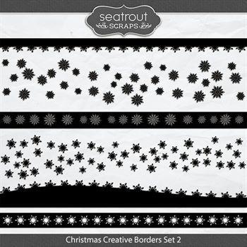 Christmas Creative Borders Set 2 Digital Art - Digital Scrapbooking Kits
