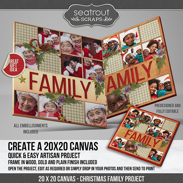 Christmas Family Predesigned & Editable Square Canvas Digital Art - Digital Scrapbooking Kits