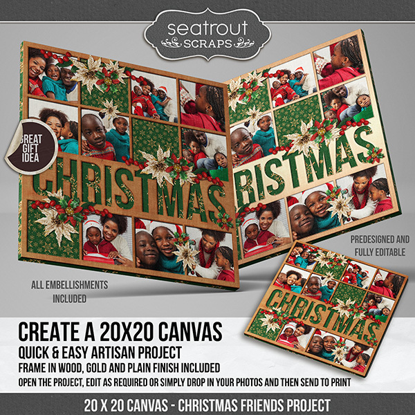Christmas Predesigned And Editable Square Canvas Digital Art - Digital Scrapbooking Kits