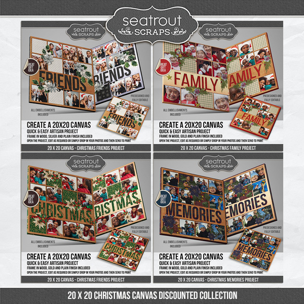 Christmas Square Canvas Collection - Predesigned & Editable