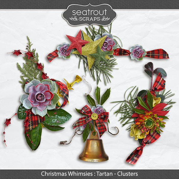 Christmas Whimsies - Tartan Clusters Digital Art - Digital Scrapbooking Kits