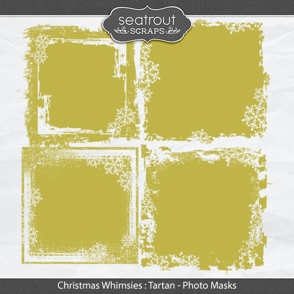 Christmas Whimsies - Tartan Photo Masks Digital Art - Digital Scrapbooking Kits