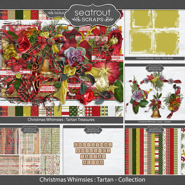 Christmas Whimsies -tartan Discounted Bundle Digital Art - Digital Scrapbooking Kits