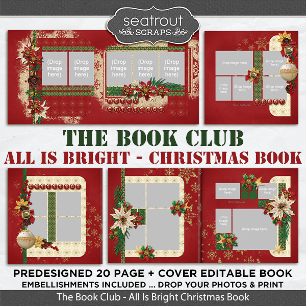 The Book Club - All Is Bright Predesigned Editable Book Digital Art - Digital Scrapbooking Kits