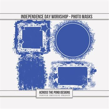Independence Day Workshop - Photo Masks Digital Art - Digital Scrapbooking Kits