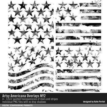 Artsy Americana Overlays No. 02 Digital Art - Digital Scrapbooking Kits