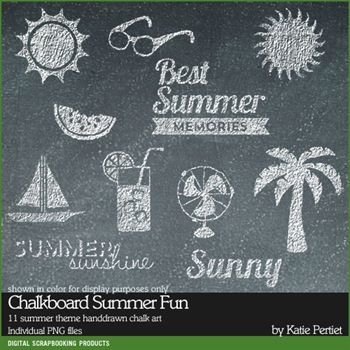 Chalkboard Summer Fun Brushes And Stamps