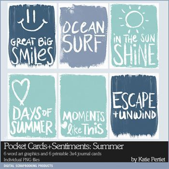 Pocket Cards And Sentiments Summer Digital Art - Digital Scrapbooking Kits