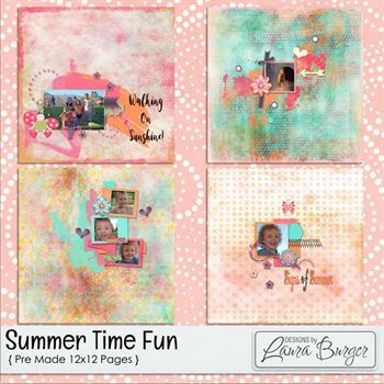 Summer Time Fun Premade 12x12 Pages