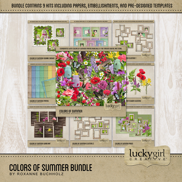 Colors Of Summer Bundle Digital Art - Digital Scrapbooking Kits