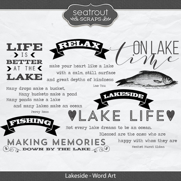 Lakeside Word Art Digital Art - Digital Scrapbooking Kits