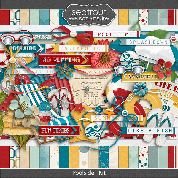 Poolside Kit Digital Art - Digital Scrapbooking Kits