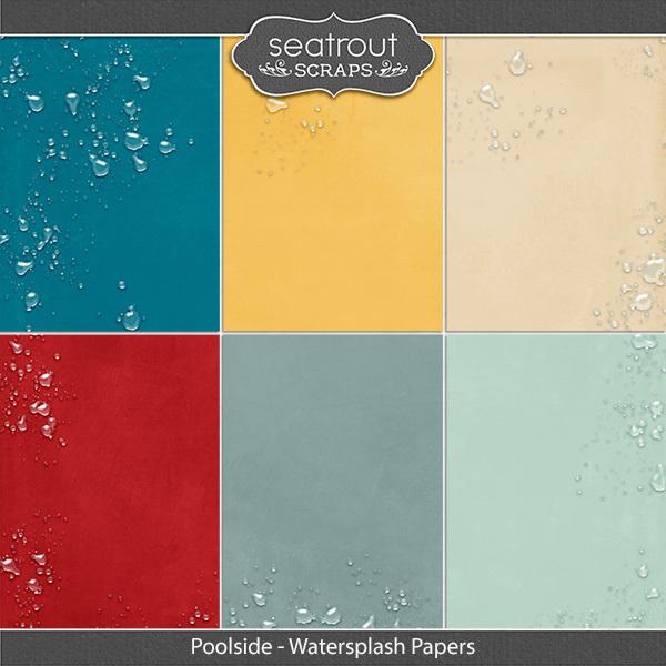 Poolside Watersplash Papers Digital Art - Digital Scrapbooking Kits