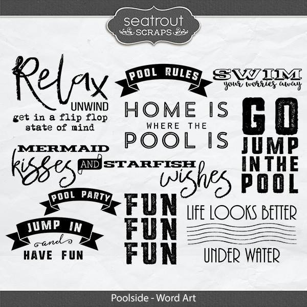 Poolside Word Art Digital Art - Digital Scrapbooking Kits