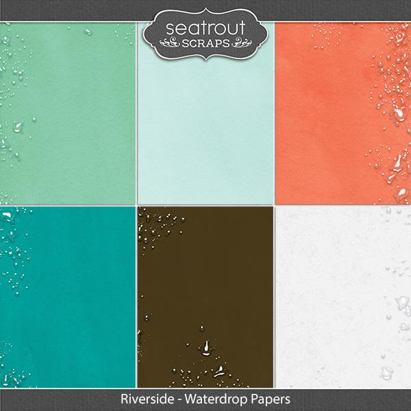 Riverside Waterdrop Papers Digital Art - Digital Scrapbooking Kits