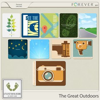 The Great Outdoors Journal Cards Digital Art - Digital Scrapbooking Kits