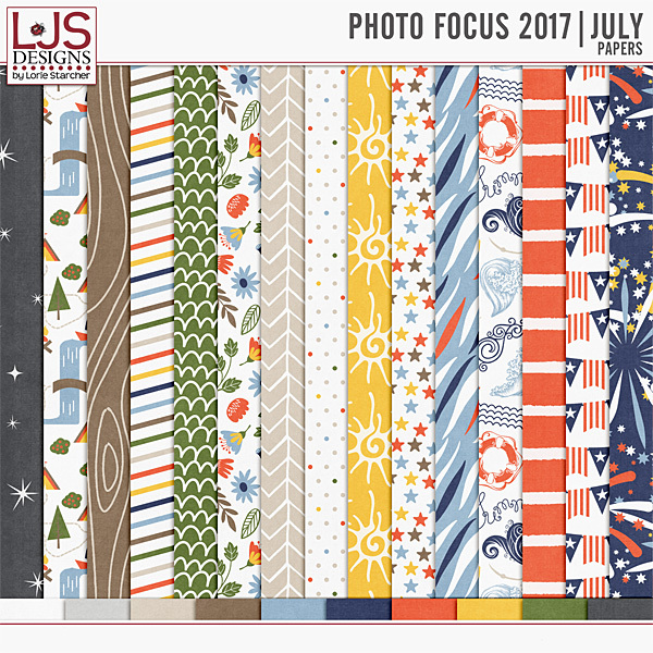 Photo Focus 2017 - July Papers Digital Art - Digital Scrapbooking Kits