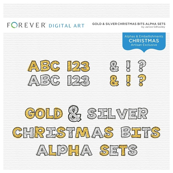 Gold & Silver Christmas Bits Alpha Sets
