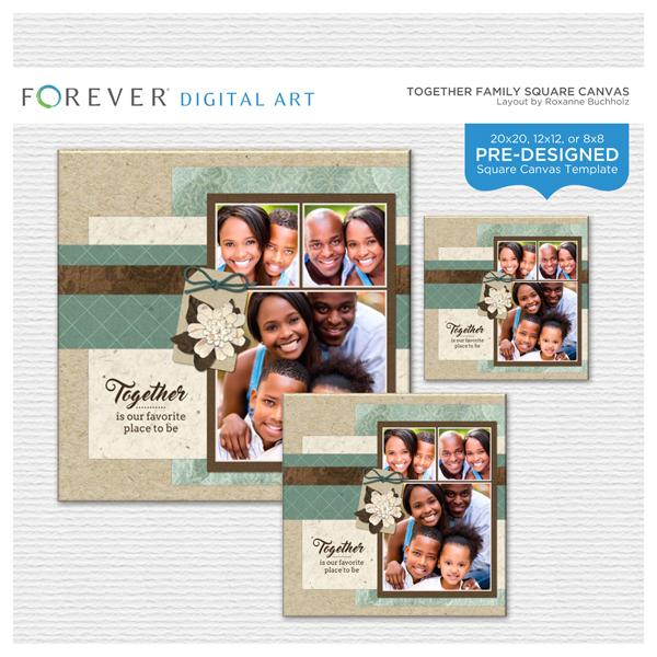 Together Family Square Canvas Digital Art - Digital Scrapbooking Kits