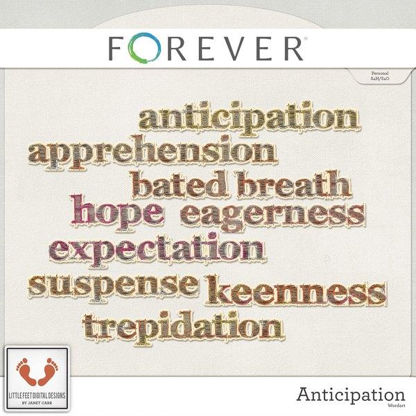 Anticipation Word Art Digital Art - Digital Scrapbooking Kits