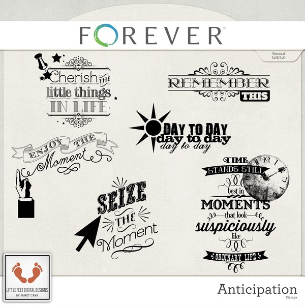 Anticipation Word Art Stamps Digital Art - Digital Scrapbooking Kits