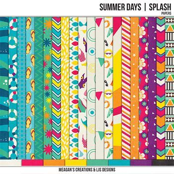 Summer Days - Splash Papers Digital Art - Digital Scrapbooking Kits