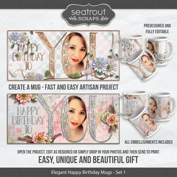 Elegant Birthday Mugs Set 1 - Predesigned And Editable Digital Art - Digital Scrapbooking Kits
