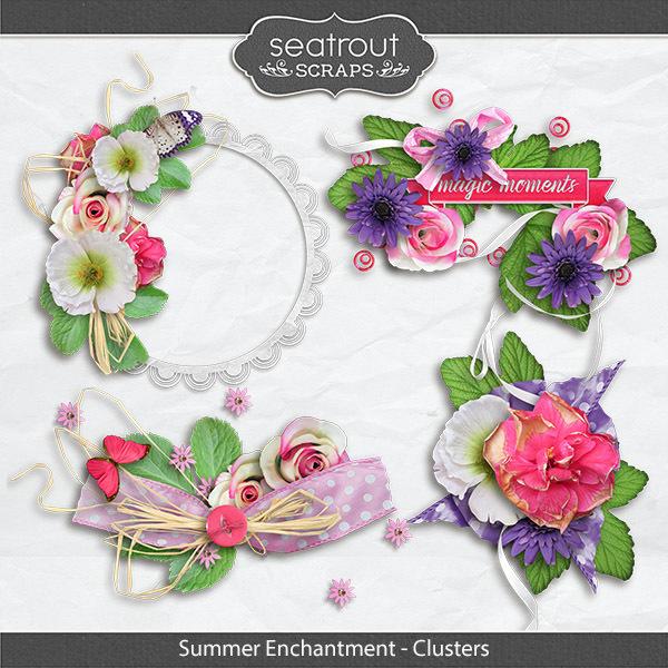 Summer Enchantment Clusters Digital Art - Digital Scrapbooking Kits