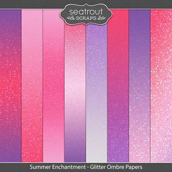 Summer Enchantment Glitter Ombre Papers