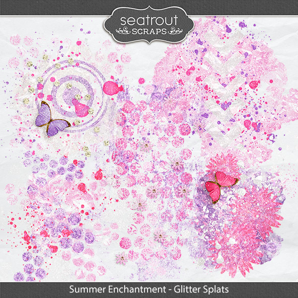 Summer Enchantment Glitter Splats Digital Art - Digital Scrapbooking Kits