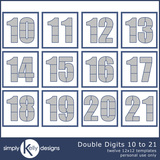 Double Digits 12x12 Templates 10 To 21