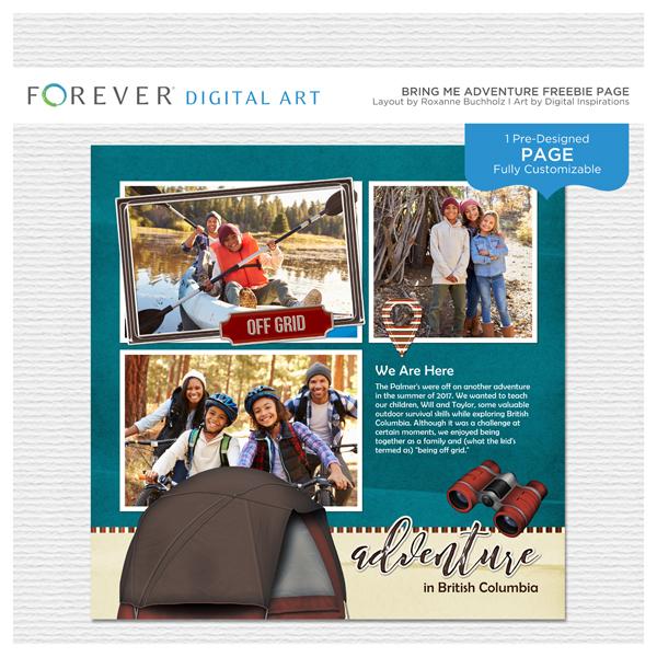 Bring Me Adventure Freebie Page Digital Art - Digital Scrapbooking Kits