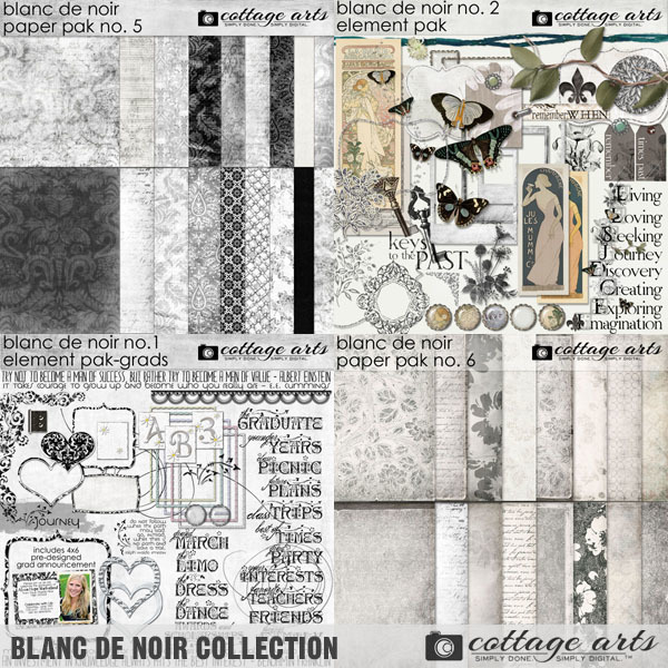Blanc De Noir Collection Digital Art - Digital Scrapbooking Kits