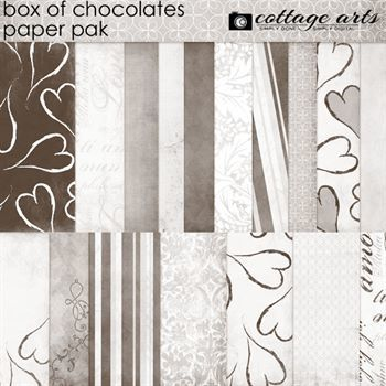 Box Of Chocolates Paper Pak Digital Art - Digital Scrapbooking Kits