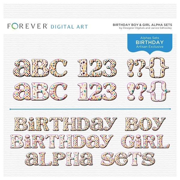 Birthday Boy & Girl Alpha Sets Digital Art - Digital Scrapbooking Kits