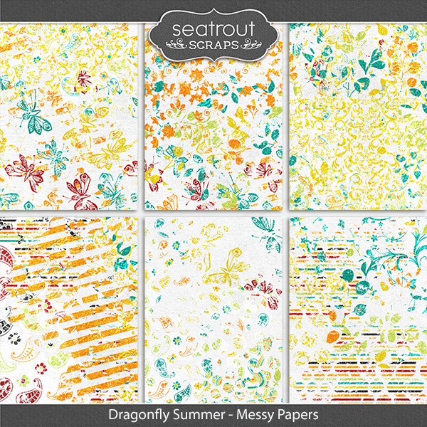 Dragonfly Summer Messy Papers Digital Art - Digital Scrapbooking Kits