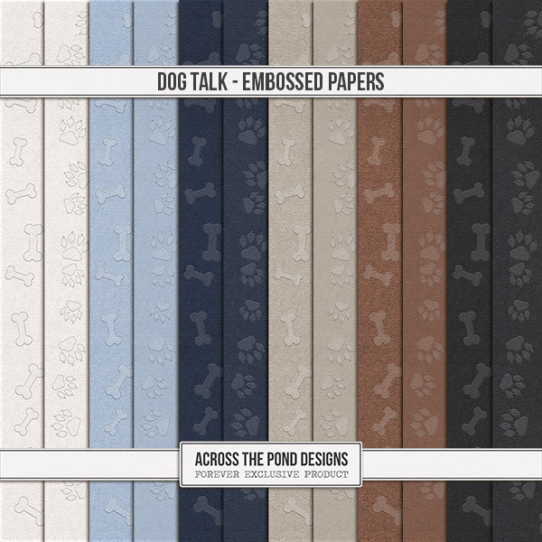 Dog Talk - Embossed Papers Digital Art - Digital Scrapbooking Kits