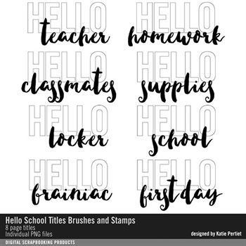 Hello School Titles Brushes And Stamps