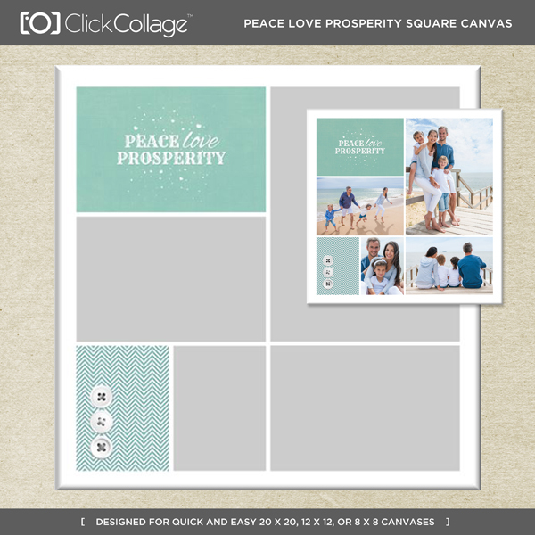 Peace Love Prosperity Square Canvas