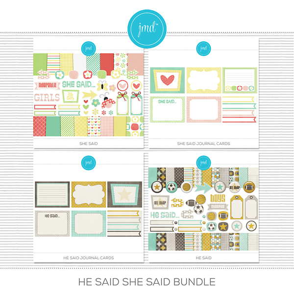 He Said, She Said Bundle Digital Art - Digital Scrapbooking Kits