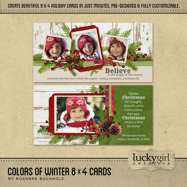 Colors Of Winter 8x4 Cards Digital Art - Digital Scrapbooking Kits
