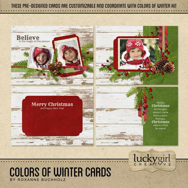 Colors Of Winter Cards Digital Art - Digital Scrapbooking Kits